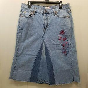 Levi 14S Skirt Blue Jean Denim Embroidered A Line